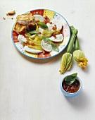 Fiori di zucchina con la mozzarella (Courgette flowers & cheese)