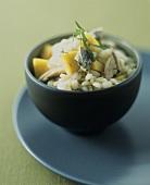 Pearl barley risotto with fish