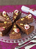 Chocolate cake with passion fruit and raspberries