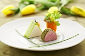 Soft cheese mousse with veal fillet