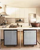 Moderne Küche mit Edelstahlgeräten, Gasherd und Kochinsel