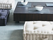 Asian-style table and floor cushions
