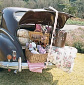Classic car with packed boot