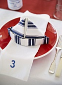 A maritime-themed place setting