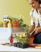 Junge Frau beim Einsetzen von Blumen