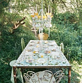 Dining table in garden