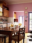 Kitchen with walls painted pink