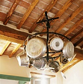 Pans hanging from ceiling