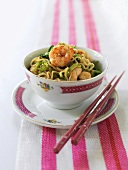 Asian noodle, prawn and vegetable dish