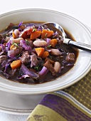 A plate of vegetable stew (red cabbage, beans and carrots)