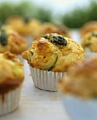 Asparagus muffins with Cheddar cheese and bacon