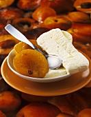 Baked peach with vanilla parfait