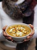 Butternut squash soup with crème fraîche and croutons