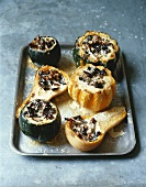 Baked squashes with mushroom and cream stuffing