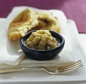 Aubergine dip with flatbread
