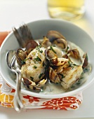 Zander and shellfish stew