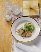 Salmon trout and courgette parcel