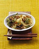 Mie noodles with fried duck breast and romanesco
