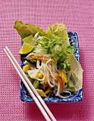 Rice noodle salad with marinated salmon