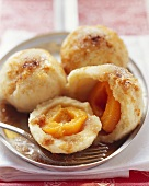 Apricot dumplings with apricot schnapps