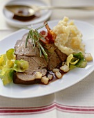 Roast wild boar with mashed potato