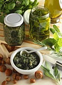 Herbs in oil and herb and nut paste
