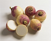 Whole and halved turnips