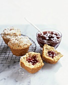 Muffins with strawberry jam filling