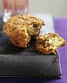 A cinnamon muffin, broken open