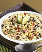 Quinoa, black bean, sweetcorn and pepper salad
