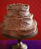 Three-tiered chocolate wedding cake