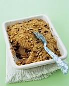 Pear and sour cherry crumble