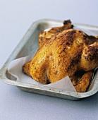 Spicy roast chicken in roasting tin