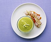 Cold avocado soup with smoked salmon