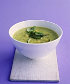 Courgette soup with basil puree