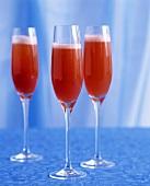 Three glasses of Strawberry Fizz