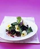 Herb salad with primroses and pomegranate seeds