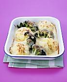 Blumenkohl und Brokkoli mit Käse gratiniert