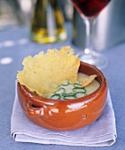 Leek and onion soup with Parmesan wafer