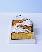 Three pieces of almond Madeira cake