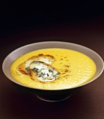 Celeriac and apple soup with toasted cheese croutes