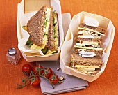 Cheese & apple and courgette & feta sandwiches