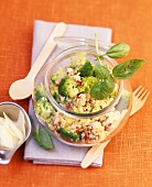 Millet and broccoli salad with dried tomatoes
