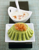 Courgette timbale with smoked salmon