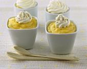 Vanilla custard with cream in small pots