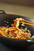 Rice and vegetable stir-fry with baby corn
