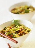 Rice noodles with savoy cabbage and oyster mushrooms