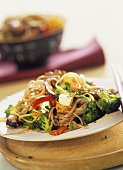 Buckwheat noodles with smoked tofu and vegetables