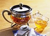 St. John's wort tea in glass pot