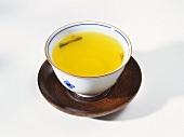 A bowl of green tea